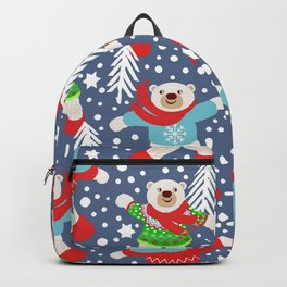 Polar Bears Dancing in the Snow, playing snowballs Backpack