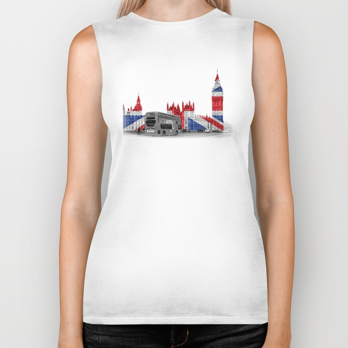 Big Ben, London Bus and Union Jack Flag Biker Tank