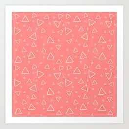 Pastel Red Triangle Pattern Art Print