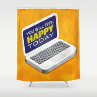 computer Shower Curtains featuring Computer Emotions by Andrew J. Nilsen  / Visualinguist