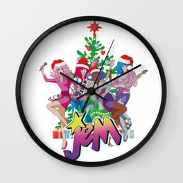 Jem and the Holograms Merry Christmas Retro Vintage Santa Hat Wall Clock