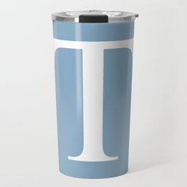Letter T sign on placid blue background Travel Mug