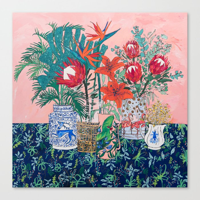 The Domesticated Jungle - Floral Still Life Canvas Print