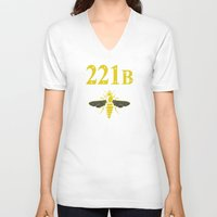 221b V-neck T-shirts featuring 221B(ee) by sirwatson