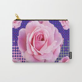 SHABBY CHIC PINK GARDEN ROSES PURPLE ART Carry-All Pouch