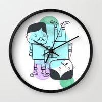 best friends Wall Clocks featuring Best Friends by Silva Ware by Walter Silva