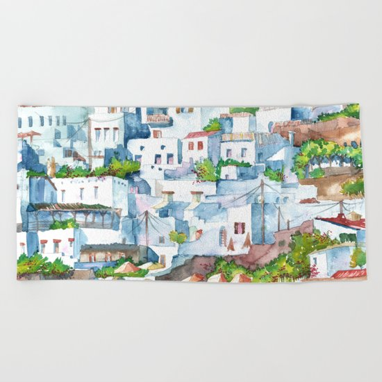Panorama of Lindos Beach Towel