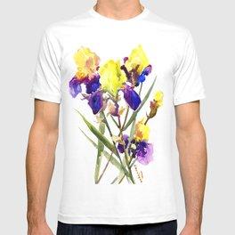 Garden Iris Floral Artwork Yellow Purple Blue Floral design, bright colored floral design T-shirt