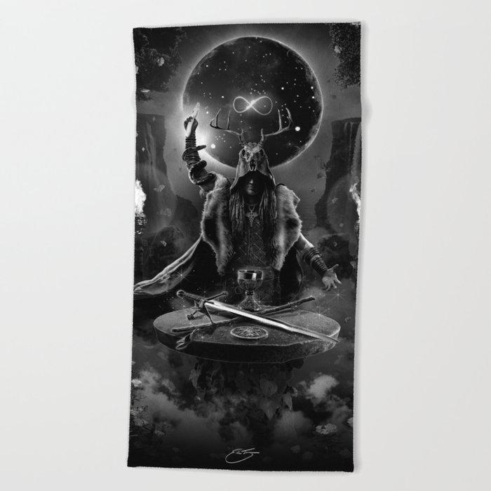 I. The Magician Tarot Card Illustration Beach Towel
