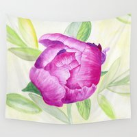 peony Wall Tapestries featuring Peony by my first palette