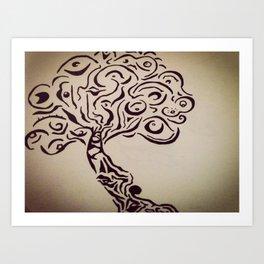 Ink Doodle Eyeball Tree Art Print