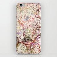 cincinnati iPhone & iPod Skins featuring Cincinnati by MapMapMaps.Watercolors