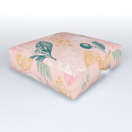 Modern Pink Green Yellow Hand Painted Exotic Floral Outdoor Floor Cushion