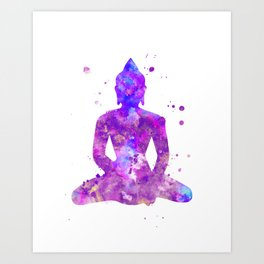 Buddha Watercolor Painting Purple Art Print