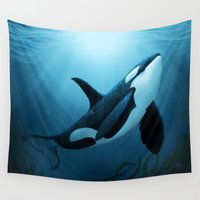 scuba Wall Tapestries featuring The Dreamer  ~ Orca ~ Killer Whale by Amber Marine