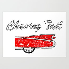 chasing tail classic car Art Print