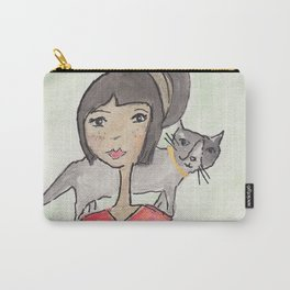 Cat and Girl Seated Carry-All Pouch