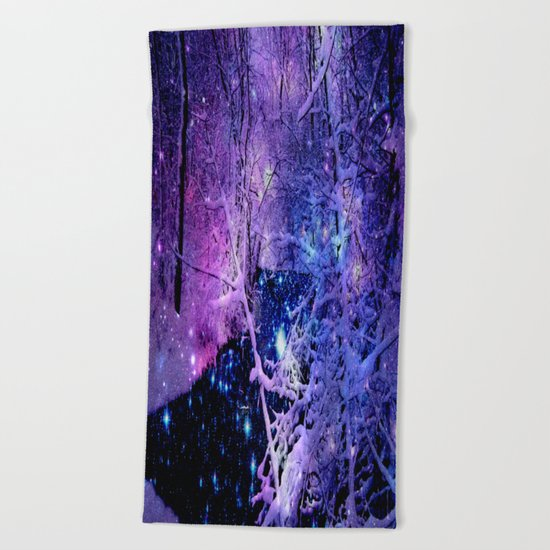Cosmic River Galaxy Forest Beach Towel