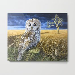 The Guardian - Acrylic Painting - Tawny Owl Metal Print