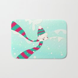 Christmas Peekaboo Snowman I - Mint Blue Snowy Background Bath Mat