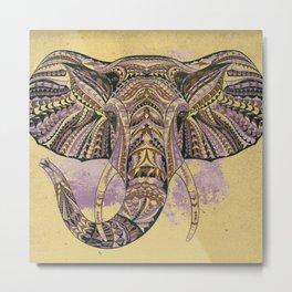 Grunge Ethnic Elephant Metal Print