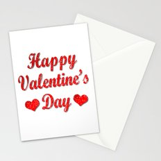 Happy Valentine's Day Red Hearts Stationery Cards