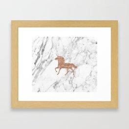 Rose gold unicorn on marble Framed Art Print