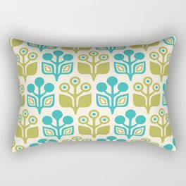 Mid Century Garden Flower Pattern Turquoise Chartreuse Rectangular Pillow