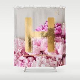 Pink Peonies Flower Alphabet Golden Letter H Shower Curtain