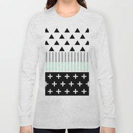 Modern Elegant Mint, Black,  & White Shapes Long Sleeve T-shirt