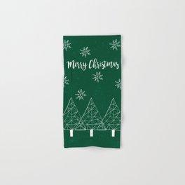 Merry Christmas Green Hand & Bath Towel