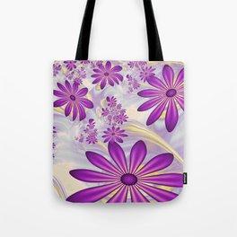 Fractal Art Dancing Purple Flowers Tote Bag