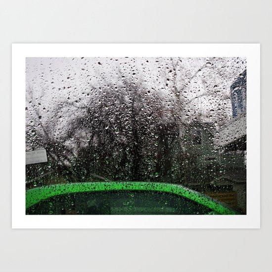 Green Car and Rain Art Print