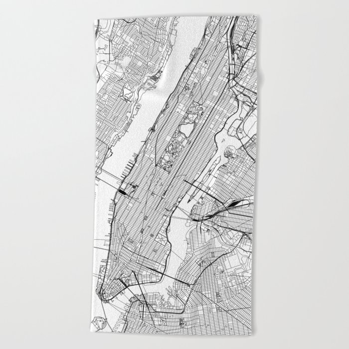 New York City White Map Beach Towel