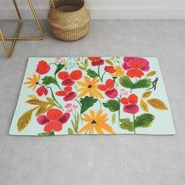Pansies, Flowers, Happy, Sunshine, Sunflowers Rug