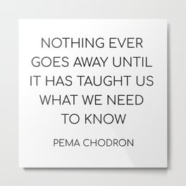 NOTHING EVER GOES AWAY UNTIL IT HAS TAUGHT US WHAT WE NEED TO KNOW Metal Print