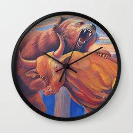 Bear vs Bull Wall Clock