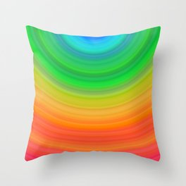 Rainbow Smile Colored Circles Summer Pattern Throw Pillow