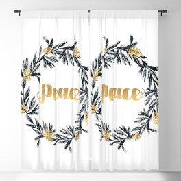 Christmas Wreath Peace Blackout Curtain