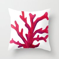 coral Throw Pillows featuring Coral by Hayley Lang