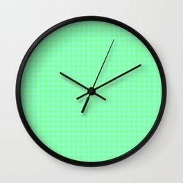Blue On Green Plaid Wall Clock