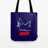 jaws Tote Bags featuring Jaws by IIIIHiveIIII