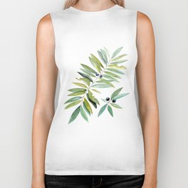 Leaves Berries Sage Green Turquiose Nature Art Floral Watercolor Biker Tank