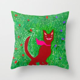 ROSETTA the smart cat, enjoying a walk into the bloomed garden! Throw Pillow