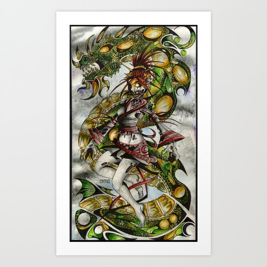 Zombie Geisha Girl Art Print