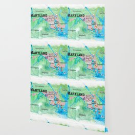 USA Maryland State Travel Poster Map with Touristic Highlights Wallpaper
