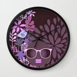 Afro Diva Lavender Purple-Taupe Wall Clock
