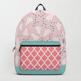 Pastel Manicured Hands Pattern Backpack