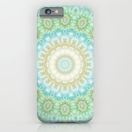 Earth and Sky Mandala in Pastel Blue and Green iPhone Case