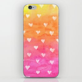 Cute White Hearts Watercolors Background iPhone Skin